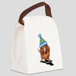 Party Dachshund Canvas Lunch Bag