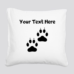Custom Pawprints Silhouette Square Canvas Pillow