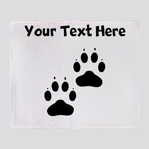 Custom Pawprints Silhouette Throw Blanket