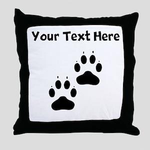 Custom Pawprints Silhouette Throw Pillow