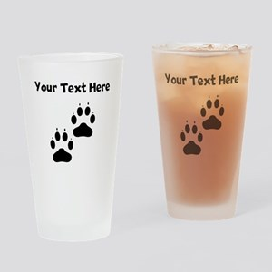 Custom Pawprints Silhouette Drinking Glass