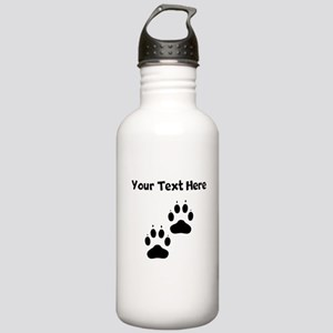 Custom Pawprints Silhouette Water Bottle