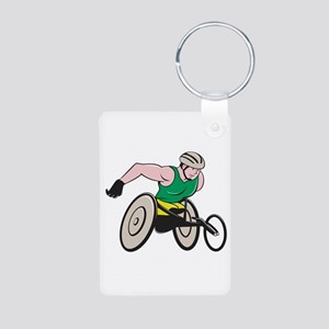 Wheelchair Racer Racing Isolated Keychains