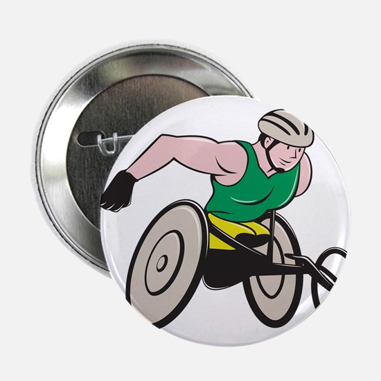 "Wheelchair Racer Racing Isolated 2.25"" Button (10"