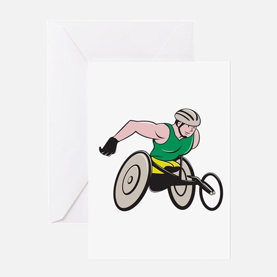 Wheelchair Racer Racing Isolated Greeting Cards