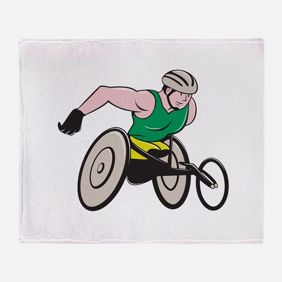 Wheelchair Racer Racing Isolated Throw Blanket