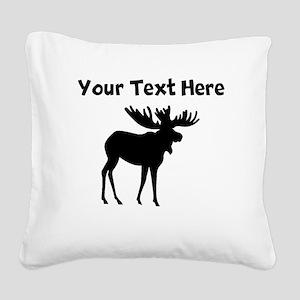 Custom Moose Silhouette Square Canvas Pillow
