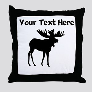 Custom Moose Silhouette Throw Pillow