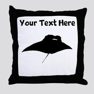 Custom Manta Ray Silhouette Throw Pillow