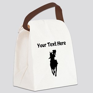 Custom Horse And Rider Silhouette Canvas Lunch Bag