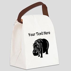 Custom Hippopotamus Silhouette Canvas Lunch Bag