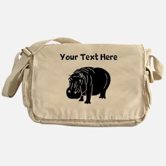 Custom Hippopotamus Silhouette Messenger Bag