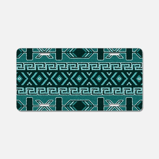 Turquoise Aztec Pattern Aluminum License Plate