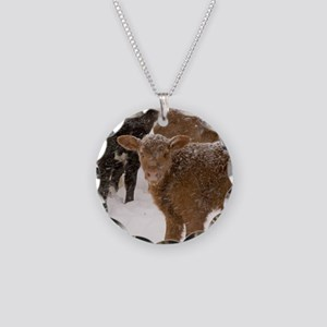 Calves in The Snow Necklace Circle Charm