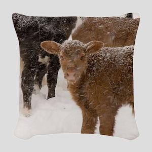 Calves in The Snow Woven Throw Pillow