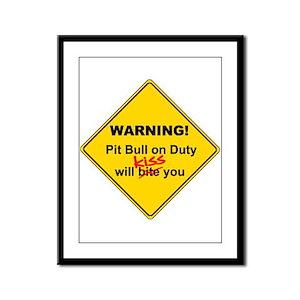 Pit Bull will KISS! Framed Panel Print