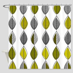 Mid-Century Modern Leaf Pattern Shower Curtain
