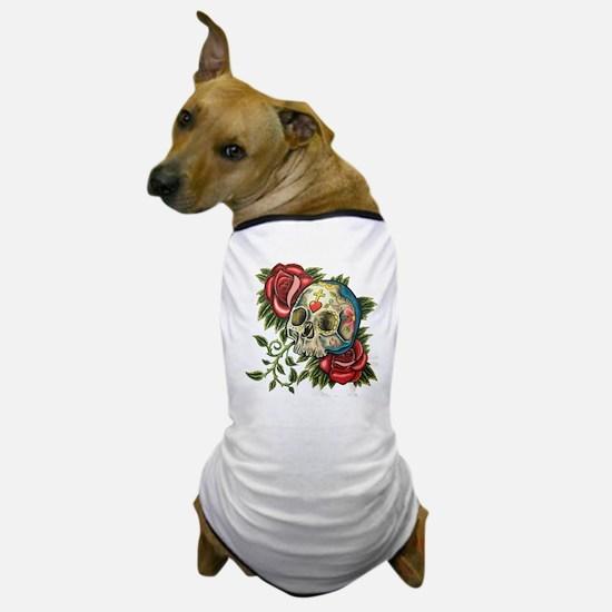 Unique Sugar skull roses Dog T-Shirt