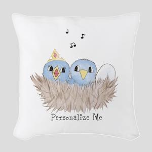 Baby Bird Woven Throw Pillow