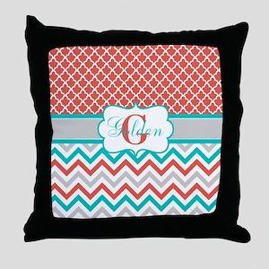 Coral Teal Quatrefoil Chevron Throw Pillow
