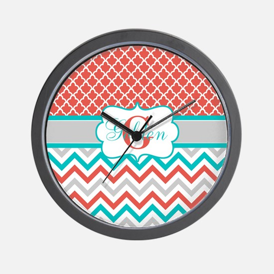 Coral Teal Quatrefoil Chevron Wall Clock