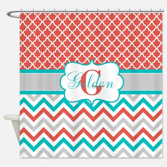 Coral Teal Quatrefoil Chevron Shower Curtain