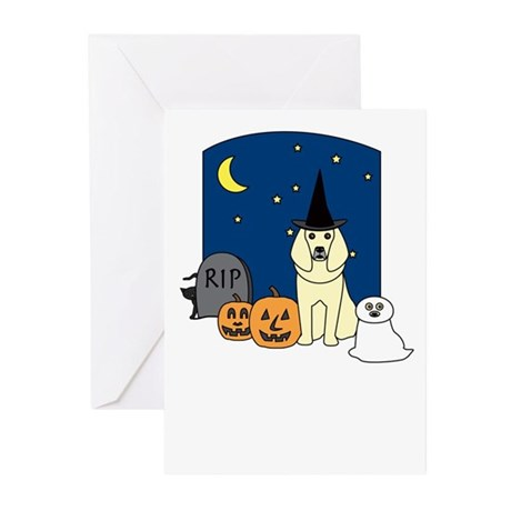 Cream Poodle Halloween Greeting Cards (Pk of 10)