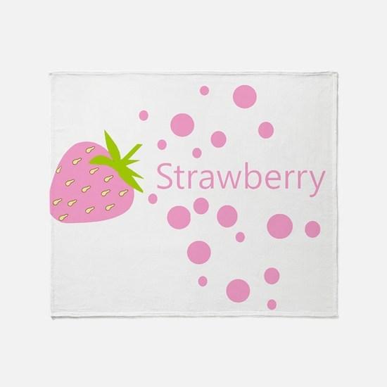 Pink strawberry Throw Blanket