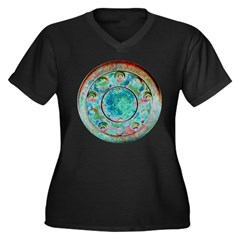 Solar Wheel Women's Plus Size V-Neck Dark T-Shirt