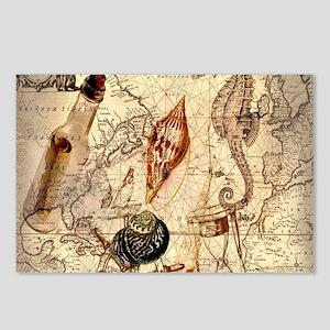 vintage nautical seashell Postcards (Package of 8)