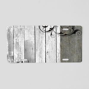 swirls primitive barn wood Aluminum License Plate