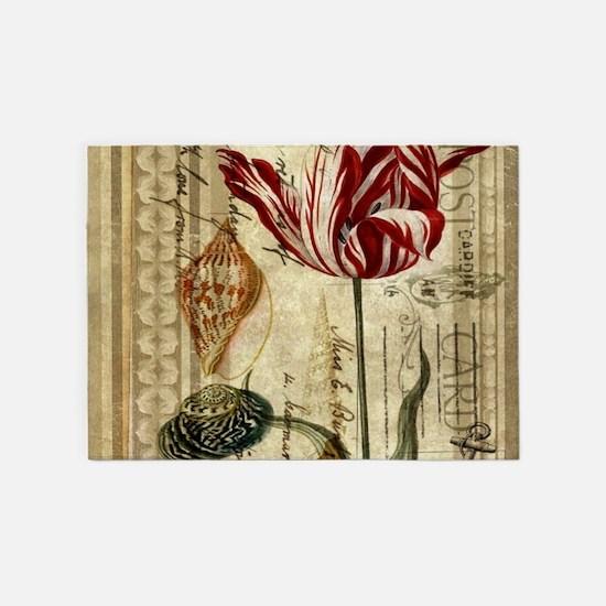 seashells tulip french botanical 5'x7'Area Rug