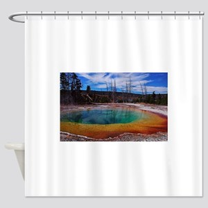 Ice Gold & Green Water Shower Curtain