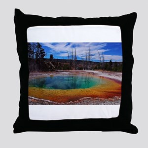 Ice Gold & Green Water Throw Pillow