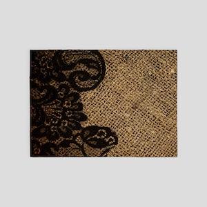 western black lace burlap 5'x7'Area Rug