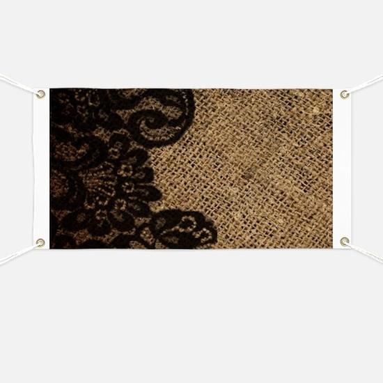 western black lace burlap Banner