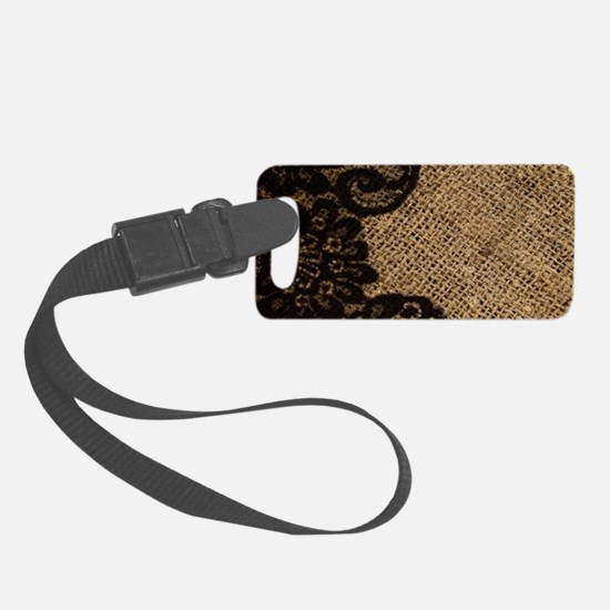 western black lace burlap Luggage Tag