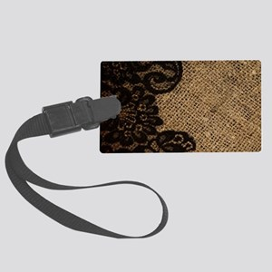 western black lace burlap Large Luggage Tag