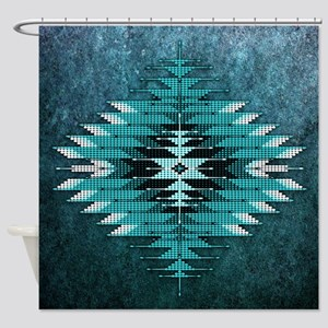 Native Style Turquoise Sunburst Shower Curtain
