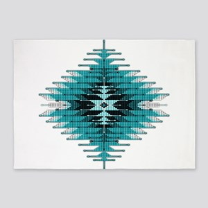 Native Style Turquoise Sunburst 5'x7'Area Rug
