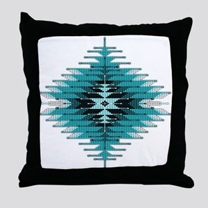 Native Style Turquoise Sunburst Throw Pillow