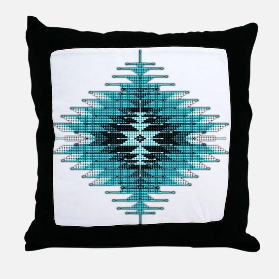 Native Style Turquoise Sunburst Throw Pillow