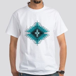 Native Style Turquoise Sunburst White T-Shirt