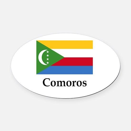 Comoros Flag Oval Car Magnet