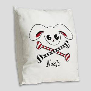 Pirate Bunny Burlap Throw Pillow