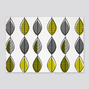 Mid-Century Modern Leaf Pattern 5'x7'Area Rug