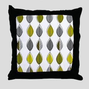 Mid-Century Modern Leaf Pattern Throw Pillow