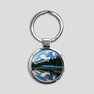 Mt. Rainier Round Keychain