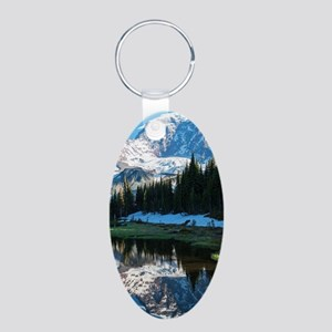 Mt. Rainier Aluminum Oval Keychain