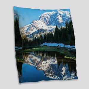 Mt. Rainier Burlap Throw Pillow